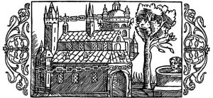 "A woodcut depicting the Temple at Uppsala, based on the writings of Adam of Bremen. From Olaus Magnus' ""Historia de Gentibus Septentrionalibus."""