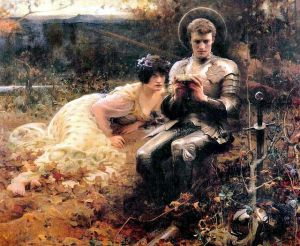 """Sir Percival with the Grail Cup"" by Arthur Hacker"
