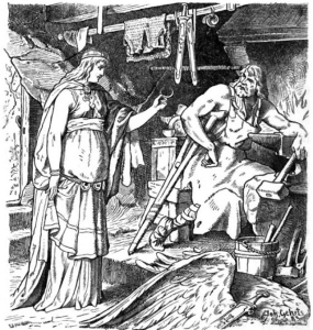 Böðvildr in Weyland's smithy by Johannes Gehrts. Image courtesy of Wikimedia Commons.
