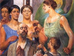 """""""Parki"""" (aka Parcae) by Malczewski Jacek Tobiasz. Courtesy of wikimedia commons."""