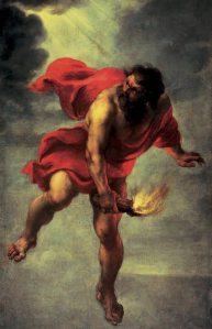 """Prometheus Carrying Fire"" by Jan Cossiers. Image courtesy of wikimedia commons."